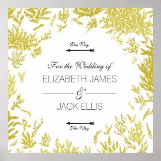 Pôster Setas elegantes do Signage do casamento do ouro