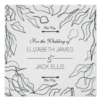 Poster Setas mínimas do Signage do casamento da flora