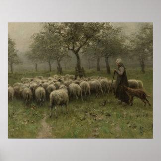 Poster Shepherdess com um rebanho dos carneiros, malva de