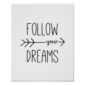 Pôster Siga suas citações inspiradores da seta dos sonhos