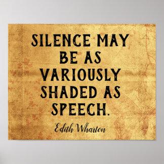 Pôster Silêncio  -- Citações de Edith Wharton do _do