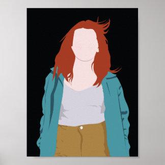 Poster Silhueta da forma da cor (Redhead)