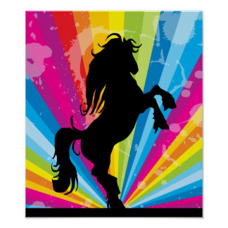 Pôster Silhueta de Techno do arco-íris que eleva o cavalo