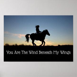 Poster Silhueta do cavalo e do cavaleiro