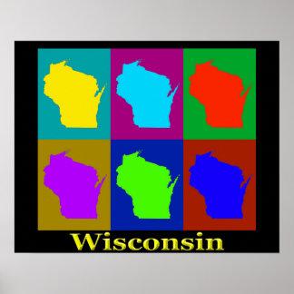 Poster Silhueta do mapa de Wisconsin