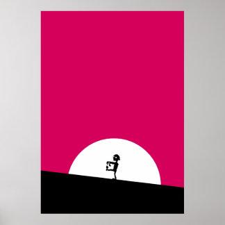 Poster Silhueta do zombi com Lua cheia