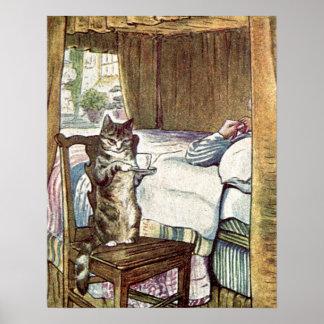 Pôster Simpkin o gato serve o chá
