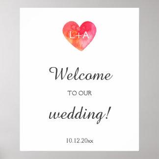 Poster Sinal bem-vindo do casamento, coração da aguarela,