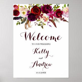 Pôster Sinal bem-vindo floral do casamento de Boho