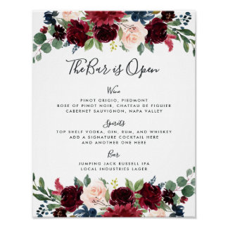 Poster Sinal brilhante do menu do bar do casamento da
