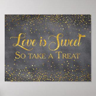 Poster Sinal da sobremesa do casamento dos confetes do