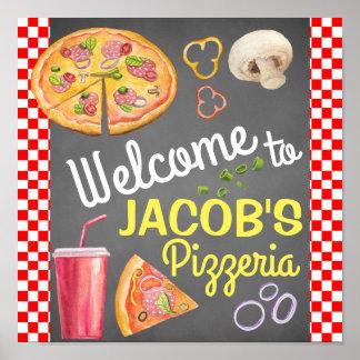 Pôster Sinal de boas-vindas do partido da pizza