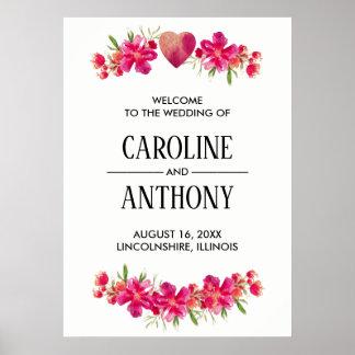 Pôster Sinal de boas-vindas floral romântico do casamento