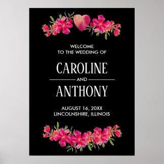 Poster Sinal de boas-vindas floral romântico do casamento