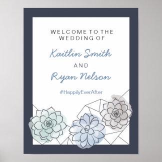 Poster Sinal de boas-vindas geométrico do casamento do