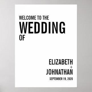 Pôster Sinal de boas-vindas simples & mínimo do casamento