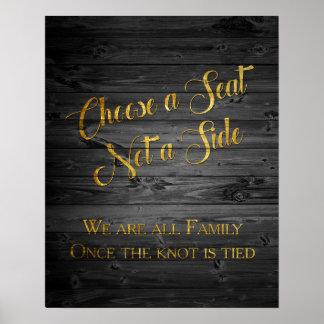 Poster Sinal do assento do casamento dos confetes do