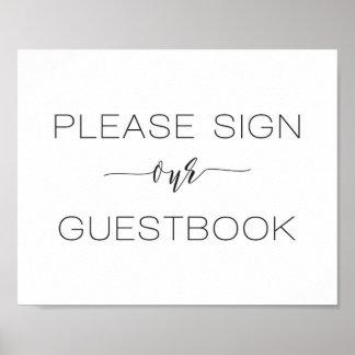 Poster Sinal do casamento da caligrafia nosso livro de