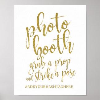 Poster Sinal do casamento do brilho 8x10 do ouro da