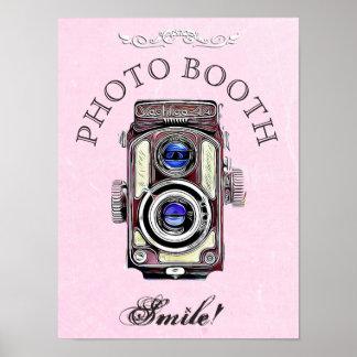 Poster Sinal do casamento para a cabine da foto, câmera