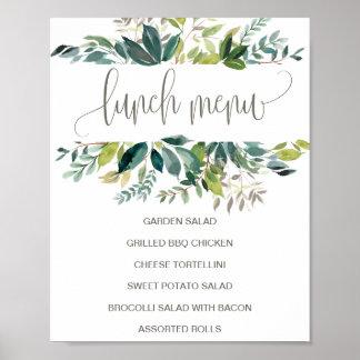 Pôster Sinal do menu do almoço da folha