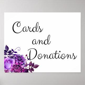Poster Sinal dos cartões e das doações. Roxo Wedding do