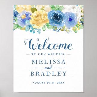 Poster Sinal floral amarelo azul do casamento do jardim
