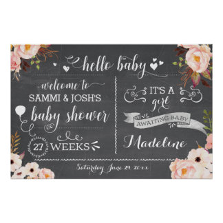 Pôster Sinal floral do chá de fraldas do bebê rústico do