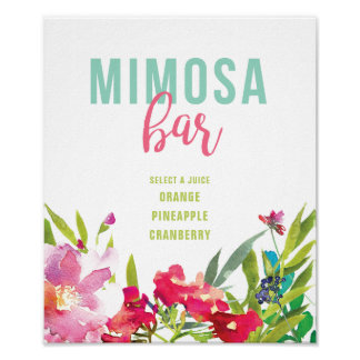 Pôster Sinal floral tropical do bar do Mimosa do chá de