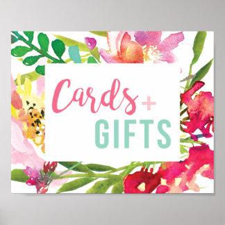 Poster Sinal floral tropical dos cartões e dos presentes