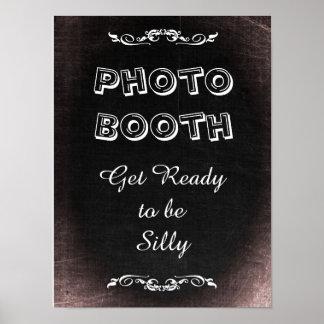 Pôster Sinal para a cabine da foto, estilo do casamento
