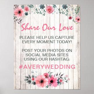 Pôster Sinal Wedding floral de madeira rústico das fotos