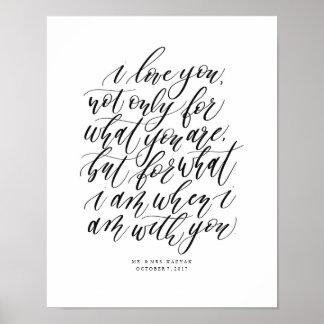 Pôster Sinal Wedding personalizado das citações do amor