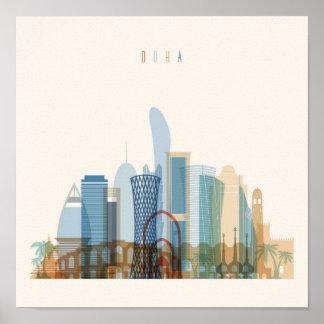 Poster Skyline da cidade de Doha, Qatar  