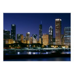 Poster Skyline de Chicago do centro na noite