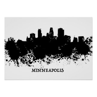 Pôster Skyline de Minneapolis - pintura de Splat