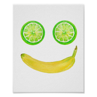 Pôster Smiley face da fruta da aguarela