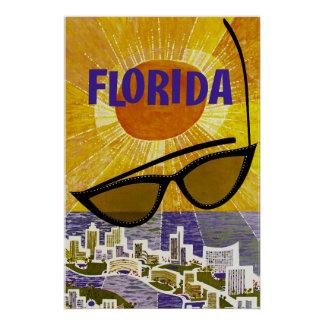 Pôster Sob o poster das viagens vintage de Florida Sun