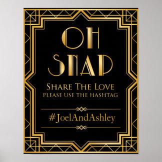 Poster social do sinal do casamento de Hashtag dos