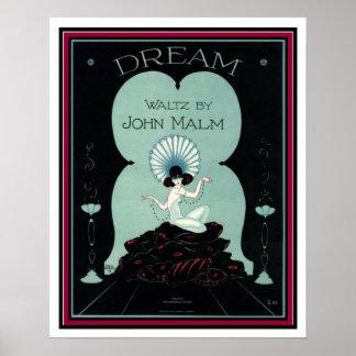 """Poster """"Sonhe"""" a partitura 16 x 20 do art deco da valsa"""