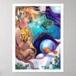 Poster sonolento da sereia e do cavalo de mar