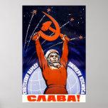 Poster soviético da propaganda do espaço