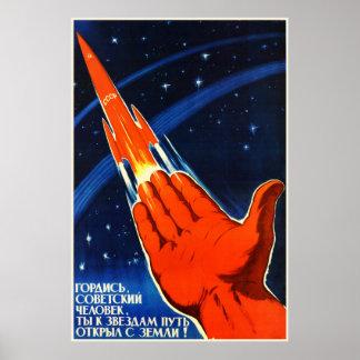 Poster soviético da propaganda do espaço pôster