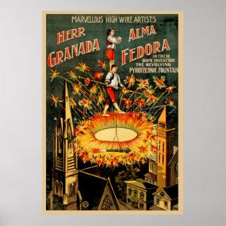 Pôster Sr. Granada, artistas do fio do vintage de Alma