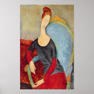 Poster Sra. Hebuterne em uma Cadeira azul, 1918