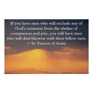 Poster St Francis de citações de Assisi sobre direitos do