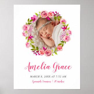 Pôster Stats floral do nascimento do bebê da foto da