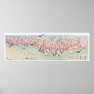 Poster sul do mapa da borda do Grand Canyon
