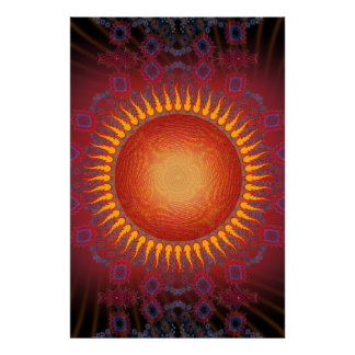Poster: Sun psicadélico: Design espiral do Fractal