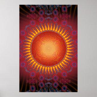 Poster: Sun psicadélico: Design espiral do Fractal Poster